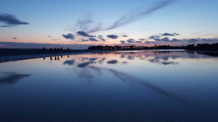 Coucher de soleil en baie de Somme - vue sur Le Crotoy