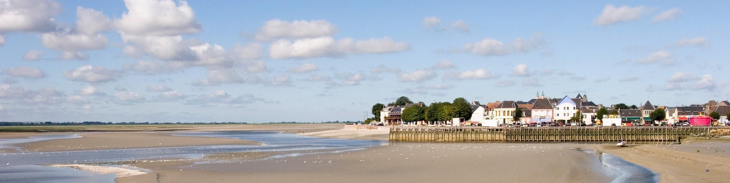 Vue à marée basse du Crotoy en Baie de Somme